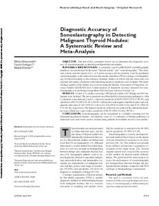 Diagnostic Accuracy of Sonoelastography in ...
