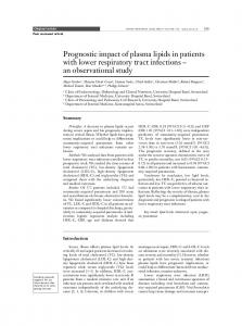 Diagnostic and prognostic impact of plasma lipids in patients with ...