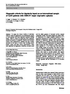 Diagnostic criteria for bipolarity based on an international ... - Core