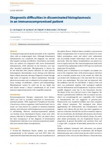 Diagnostic difficulties in disseminated histoplasmosis in an ...