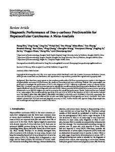 Diagnostic Performance of Des--carboxy Prothrombin for ...