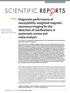 Diagnostic performance of susceptibility-weighted