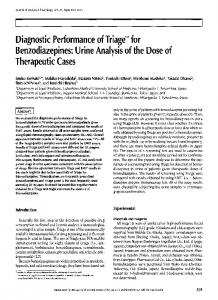 Diagnostic Performance of Triage TM for Benzodiazepines: Urine ...