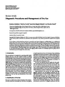 Diagnostic Procedures and Management of Dry Eye