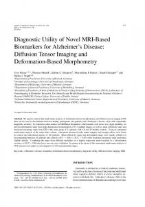 Diagnostic Utility of Novel MRI-Based Biomarkers for ... - IOS Press