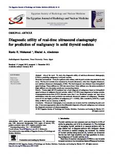 Diagnostic utility of real-time ultrasound elastography