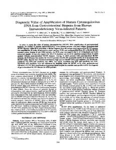 Diagnostic Value of Amplification of Human Cytomegalovirus DNA ...