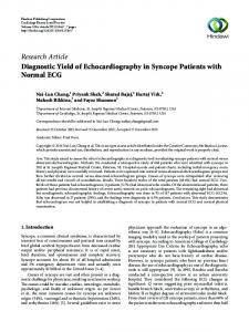 Diagnostic Yield of Echocardiography in Syncope Patients with ...