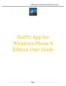 Dial91 App for Windows Phone 8 Edition User Guide