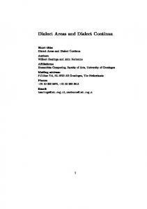 Dialect Areas and Dialect Continua Short title: Dialect Areas and ...