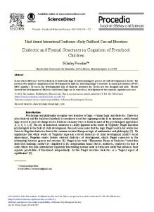 Dialectic and Formal Structures in Cognition of Preschool Children
