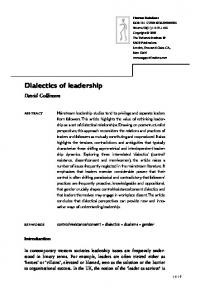 Dialectics of leadership - SAGE Journals - Sage Publications