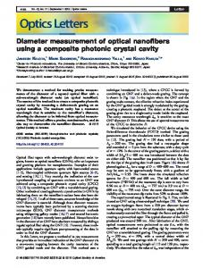 Diameter measurement of optical nanofibers using a ... - OSA Publishing