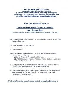 Diamond Synthesis / Crystal Growth and Processing