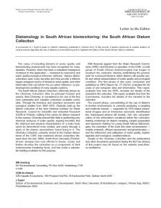 Diatomology in South African biomonitoring: the South African Diatom ...