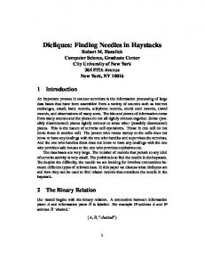 Dicliques: Finding Needles in Haystacks - Robert Haralick