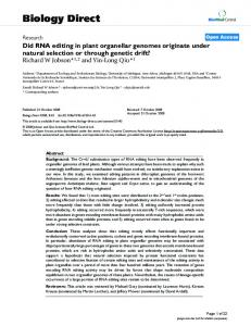 Did RNA editing in plant organellar genomes originate under natural ...