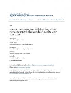 Did the widespread haze pollution over China increase during the last ...