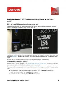 Did you know? 2D barcodes on System x servers