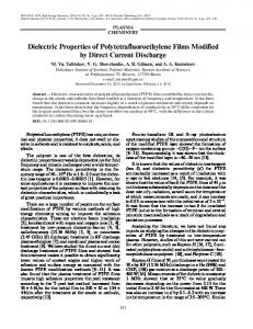 Dielectric Properties of Polytetrafluoroethylene Films ... - Springer Link