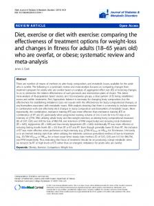Diet, exercise or diet with exercise