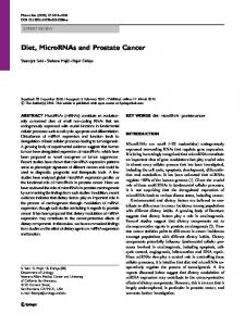 Diet, MicroRNAs and Prostate Cancer - Springer Link
