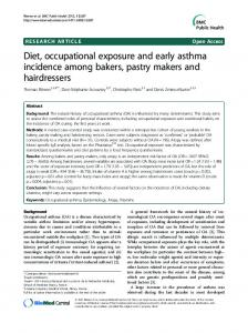 Diet, occupational exposure and early asthma ... - BioMedSearch