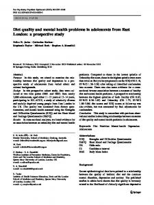 Diet quality and mental health problems in adolescents ... - Springer Link