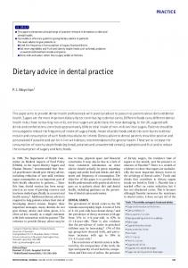 Dietary advice in dental practice - Nature