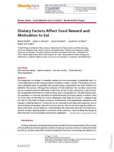 Dietary Factors Affect Food Reward and Motivation ...