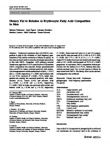 Dietary Fat in Relation to Erythrocyte Fatty Acid ... - BioMedSearch