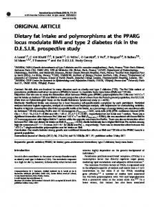 Dietary fat intake and polymorphisms at the PPARG locus ... - Nature