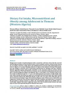 Dietary Fat Intake, Micronutritient and Obesity among