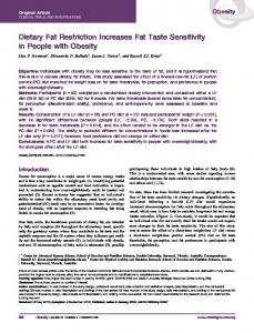 Dietary Fat Restriction Increases Fat Taste ... - Wiley Online Library