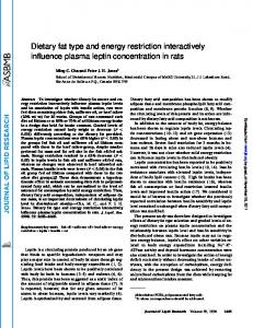 Dietary fat type and energy restriction interactively influence plasma ...