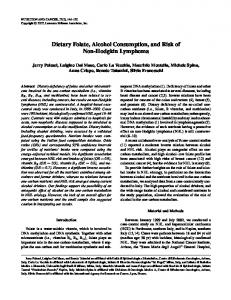 Dietary Folate, Alcohol Consumption, and Risk of Non-Hodgkin ...