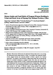 Dietary Intake and Food Habits of Pregnant Women Residing ... - MDPI