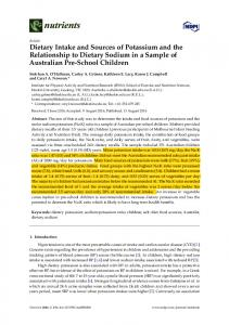 Dietary Intake and Sources of Potassium and the ... - Semantic Scholar