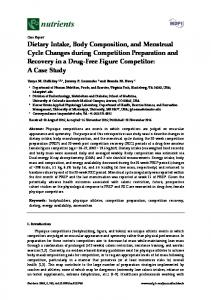 Dietary Intake, Body Composition, and Menstrual Cycle ... - MDPI