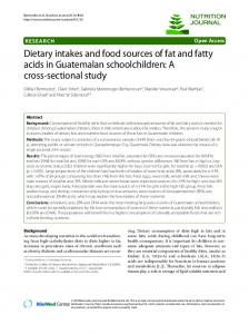 Dietary intakes and food sources of fat and fatty acids in ... - Lenus