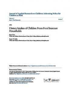 Dietary Intakes of Children From Food Insecure Households
