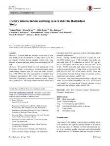 Dietary mineral intake and lung cancer risk - RePub, Erasmus ...
