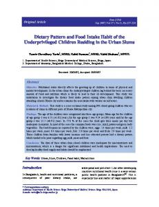 Dietary Pattern and Food Intake Habit of the Underprivileged Children ...
