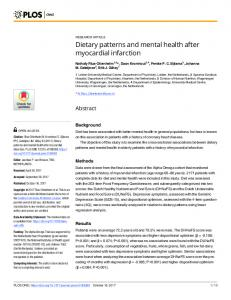 Dietary patterns and mental health after