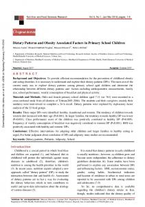 Dietary Patterns and Obesity Associated Factors in Primary School ...