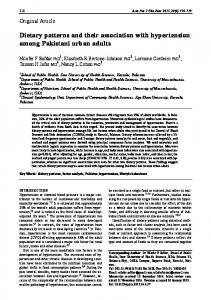 Dietary patterns and their association with hypertension among ...