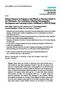 Dietary Patterns in Pregnancy and Effects on