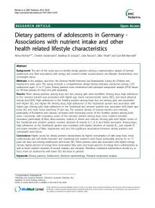 Dietary patterns of adolescents in Germany