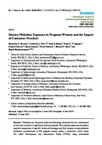 Dietary Phthalate Exposure in Pregnant Women and the ... - MDPI