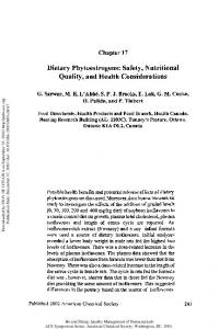 Dietary Phytoestrogens: Safety, Nutritional Quality